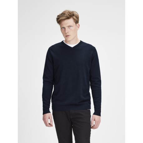 jjebasic knit v-neck navy jack jones
