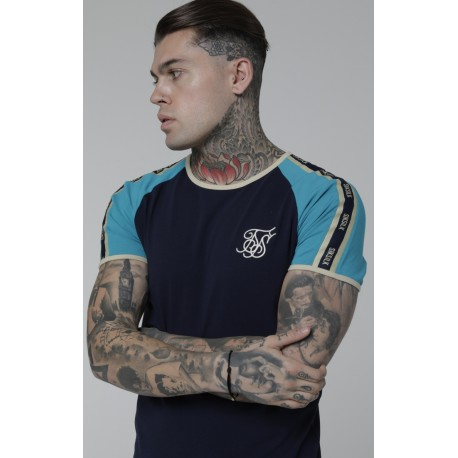 contast gym tee teal navy Siksilk