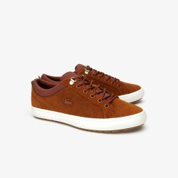 straightset insulate waxed suede brown lacoste