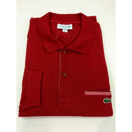 polo bordeaux   regular fit con bolsillo lacoste