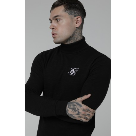 Siksilk neck slub sweater black