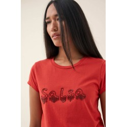camiseta basica  con logo de strass salsa jeans