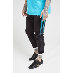 pantalon deportivo fitted track  black teal Siksilk