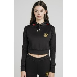 majestic cropped track top black siksilk
