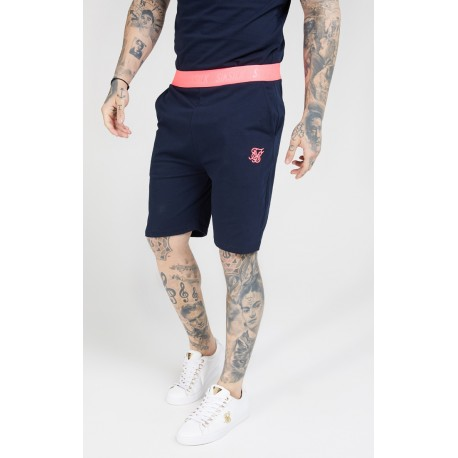 relaxed fit shorts navy-neon pink siksilk