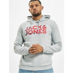 JJSPLASH SWEAT HOOD BLACK-LIGHT GREY JACK JONES