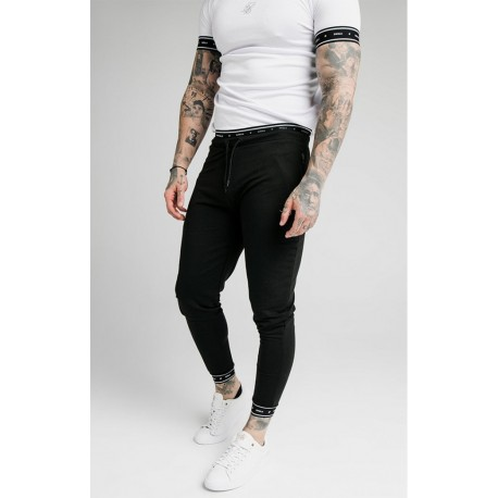 siksilk active muscle fit joggers black