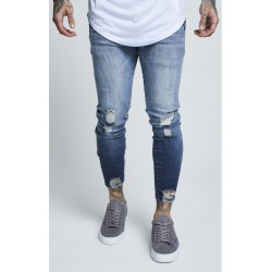 jagged hem denim washed raw blue siksilk
