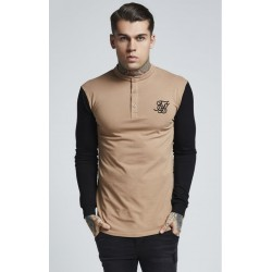 grandad collar polo beige black Siksilk
