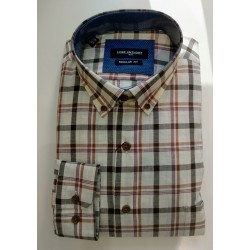 camisa de cuadros beige regular fit Lord Anthony