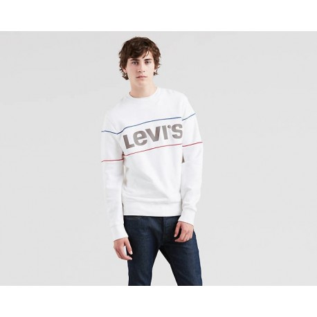 REFLECTIVE CB CREW LOGO  PIPING WHITE SWEAT LEVIS