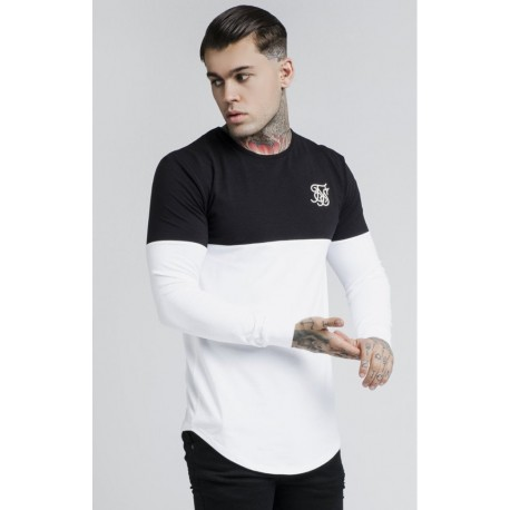 Cut and sew gym tee black /white  Siksilk
